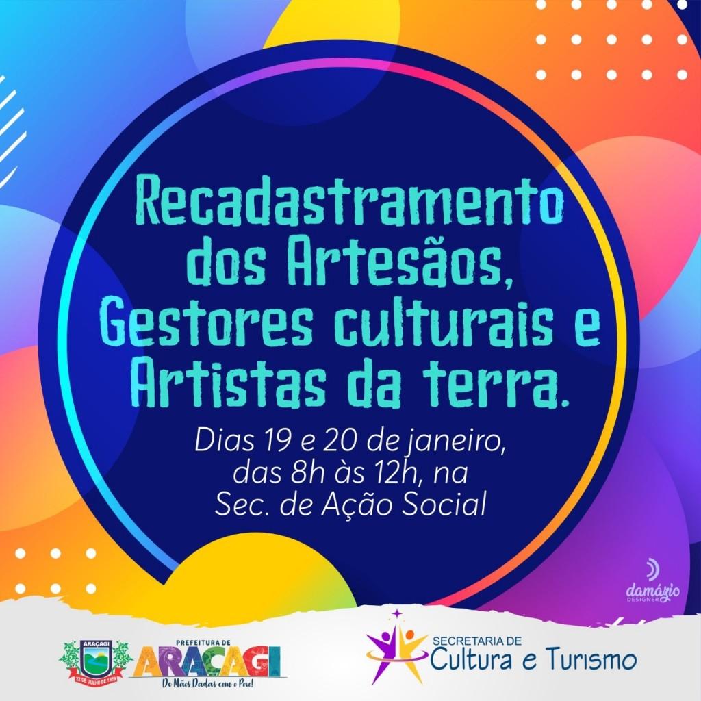 Secretaria de Cultura e Turismo convoca artistas, artesãos e Gestores Culturais para se recadastrarem