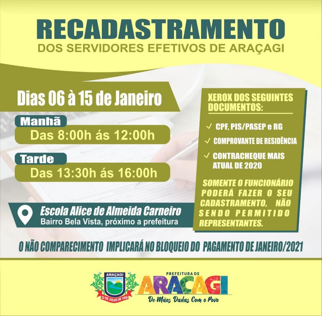 Prefeitura de Araçagi convoca servidores efetivos para recadastramento