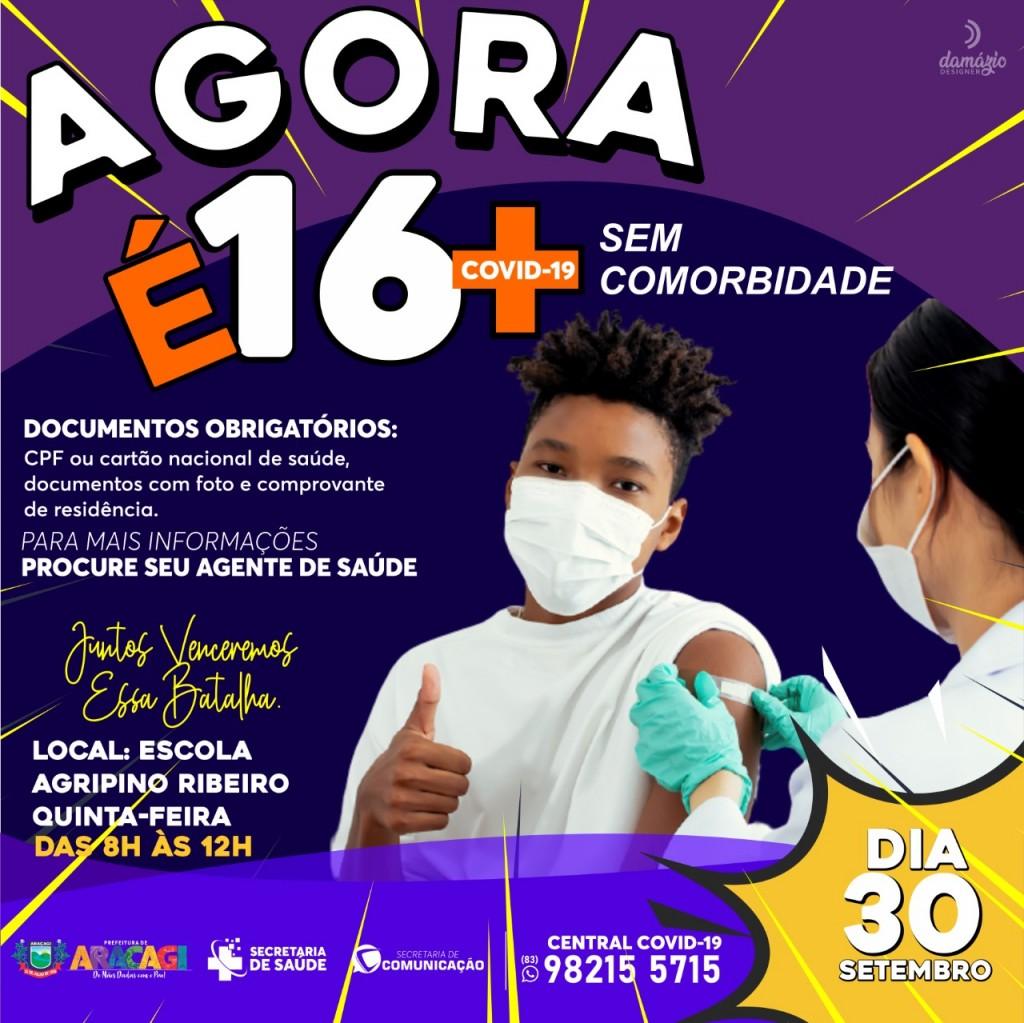 Araçagi irá iniciar na próxima quinta-feira (30), a  vacinação 16+ sem comorbidades